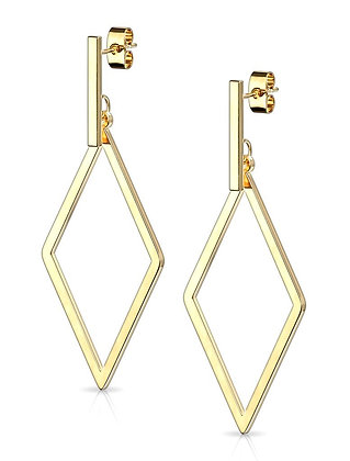 Gold diamond shape drop earrings