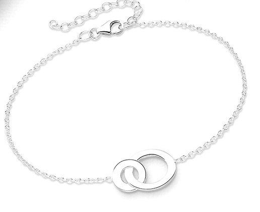 Locked circles center silver bracelet