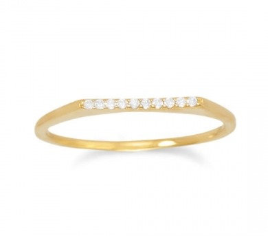 Gold CZ bar ring
