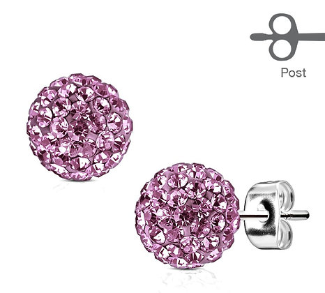 Purple crystal ball studs