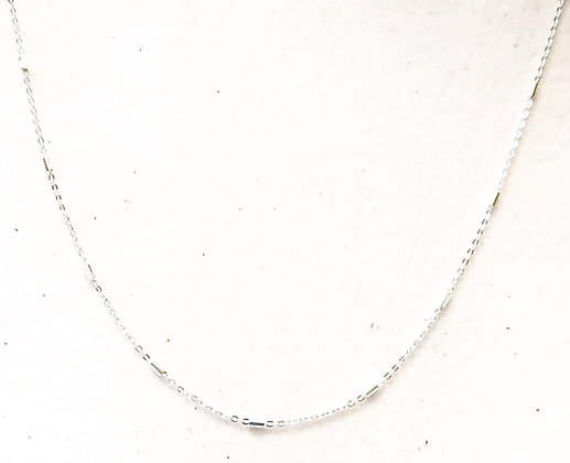 Silver bar & chain link necklace