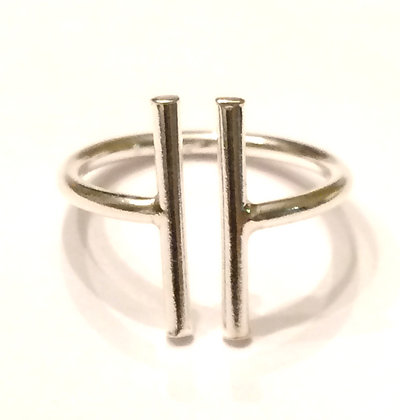 Silver open double bar ring