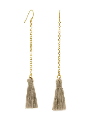 Brown tassel drop earrings