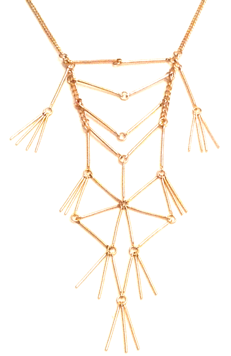 Gold necklace with geometic shapes