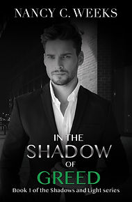 Romantic Suspense Novel Cover of In the Shadow of Greed, Book 1  Shadows and Light series by Award Winning Author, Nancy C. Weeks