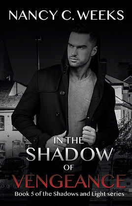 Romantic Suspense Novel Cover of In the Shadow of Vengeance, Book 5, Shadows and Light series by Award Winning Author, Nancy C. Weeks. Suspense, danger, intrigue, edge-of-your-seat-thriller romance series! Grab Your Copy NOW!