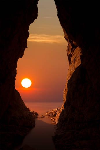 Cave Sunset - Flatholm