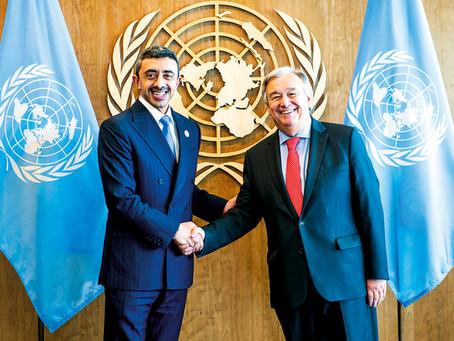 أمين عام الأمم المتحدة يستقبل عبدالله بن زايد ويشيد بدور الإمارات الإنساني