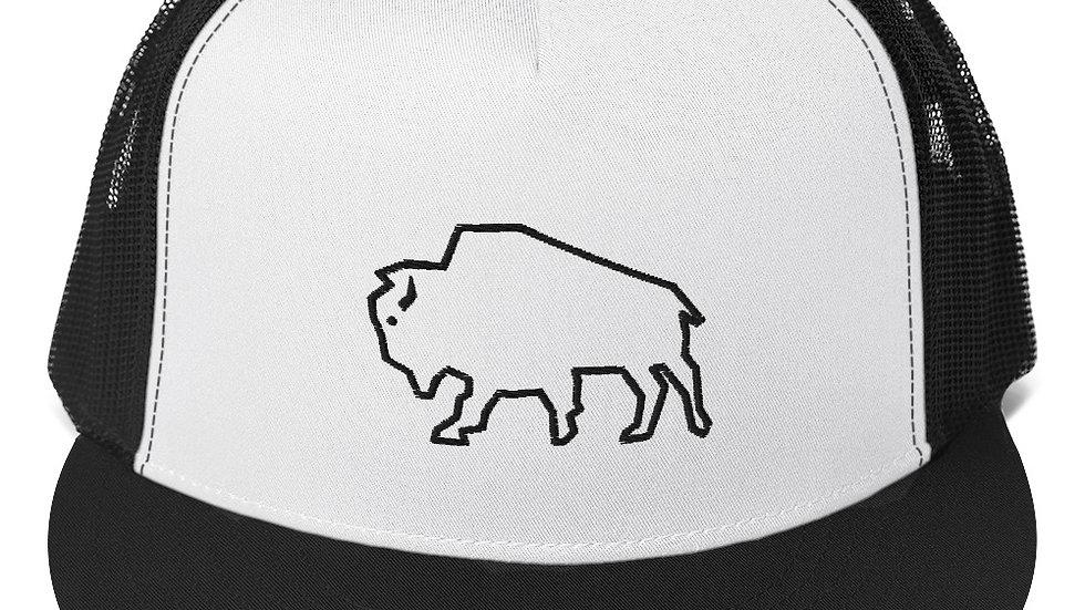 Trucker Cap blk white blk buffalo