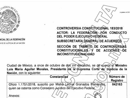 Enrique Peña Nieto solicitó a la Suprema Corte de Justicia de la Nación (SCJN) suspender cualquier c