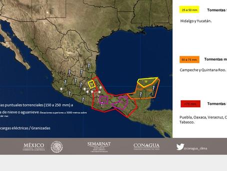 Durante la noche de hoy se prevén lluvias de muy fuertes a torrenciales en Oaxaca, Chiapas, Tabasco