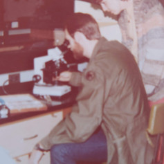 Trying out my new microscope, 1982