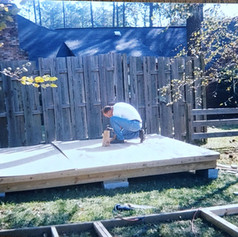 Building my own shed.  The fence you see behind me had been placed 12 feet over the property line.  Photo 1992.