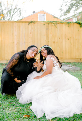 fun wedding photo with officiant