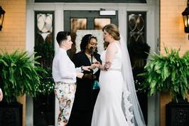 lesbian wedding floral suit