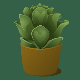 Green Succulent Side View