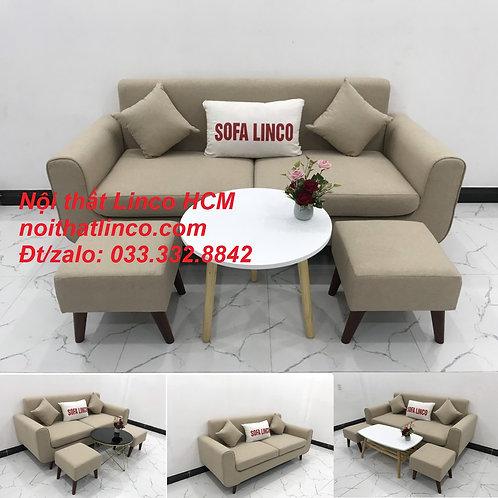Bộ bàn ghế salong Sofa băng trắng kem giá rẻ đẹp Nội thất Linco Tphcm Sài Gòn SG