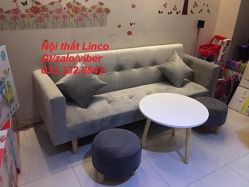 Sofa giường tay vịn SFGTVPhg01-0620 xám nhung
