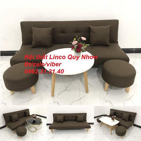 Bộ bàn ghế Sofa giường SFG08 màu nâu cafe đậm đen Nội thất Linco Quy Nhơn giá rẻ