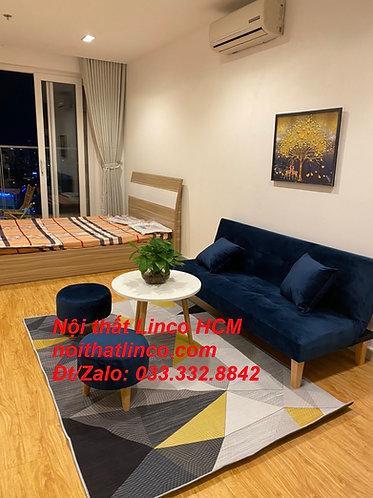 Bộ ghế sofa giường bed xanh dương nước biển đen đậm vải nhung Nội thất Linco HCM