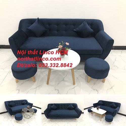 Bộ ghế sofa băng văng dài 1m9 xanh dương đen đậm vải nhung giá rẻ Tphcm