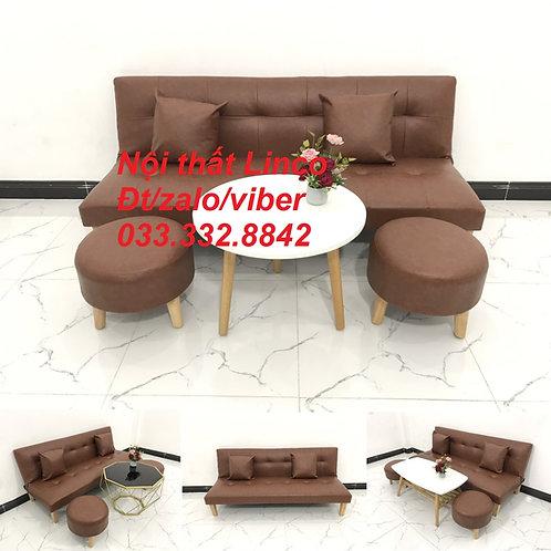Bộ ghế sofa giường sofa bed simili giả da màu nâu cafe giá rẻ Nội thất Linco HCM