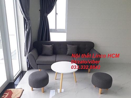 Ghế Sofa văng băng dài 1m9 xám lông chuột đậm đen than giá rẻ Nội thất Linco HCM