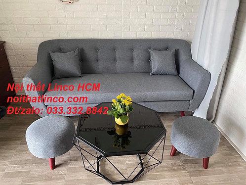 Sofa băng giá rẻ | Sofa văng dài 1m9 xám lông chuột đậm đen Nội thất Linco Tphcm