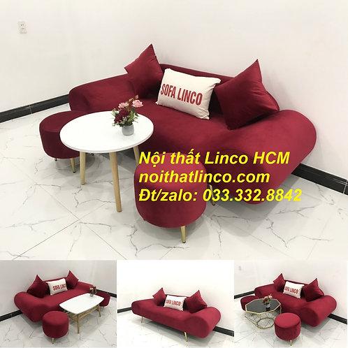 Bộ bàn ghế Sofa thuyền băng dài màu đỏ đô vải nhung Nội thất Linco Tphcm Sài Gòn