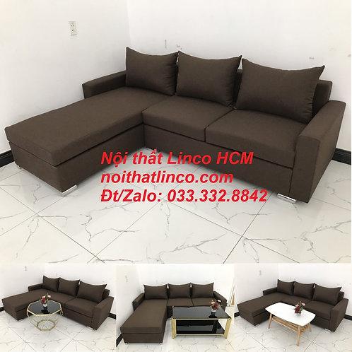 Bộ ghế sofa góc L giá rẻ nâu đen đậm | Sofa L phòng khách | Nội thất Linco Tphcm