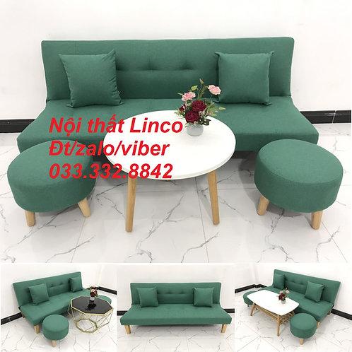 Bộ ghế sopha bed sofa giường xanh ngọc lá cây nhỏ giá rẻ đẹp Nội thất Linco HCM