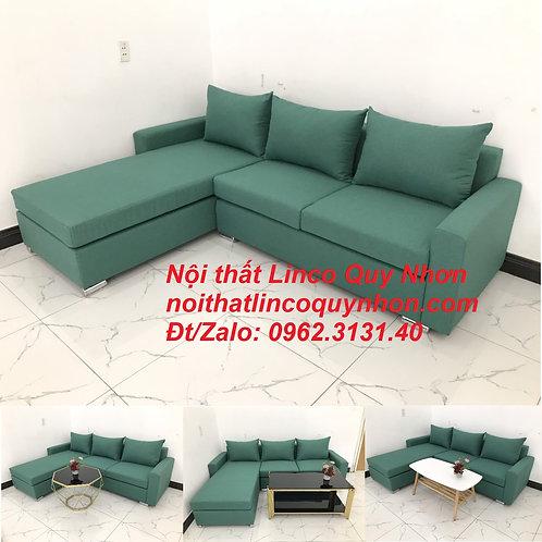Bộ ghế sofa góc L giá rẻ xanh ngọc lá cây rẻ   Nội thất Linco Quy Nhơn Bình Định
