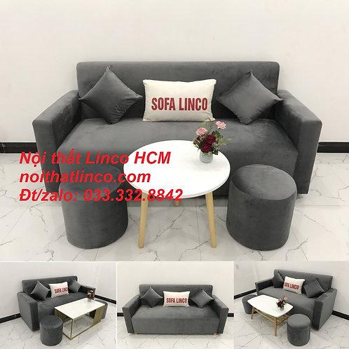 Bộ bàn ghế Sofa băng văng dài SFBg03 xám lông chuột giá rẻ Nội thất Linco Tphcm
