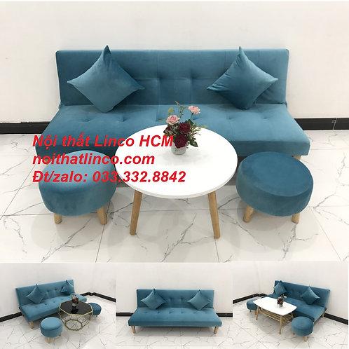 Bộ ghế sofa giường bed vải nhung màu xanh dương nước biển Nội thất Linco HCM