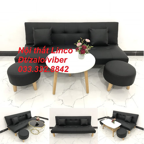 Bộ bàn ghế sofa bed, sofa giường simili giả da màu đen giá rẻ Nội thất Linco HCM