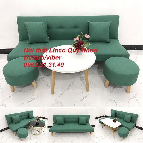 Bộ bàn ghế sofa giường sopha bed SFG11 xanh ngọc giá rẻ Nội thất Linco Quy Nhơn