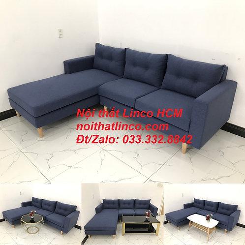Bộ ghế sofa góc L đẹp, sofa góc dài 2m2 nhỏ xanh dương đen | Nội thất Linco HCM