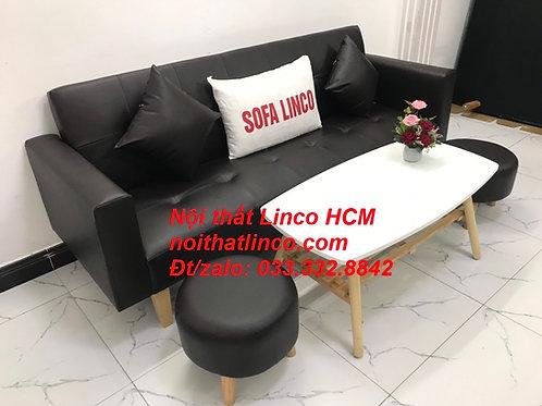 Ghế sofa màu đen GTT07 | sofa simili giả da màu đen giá rẻ | Nội thất Linco HCM