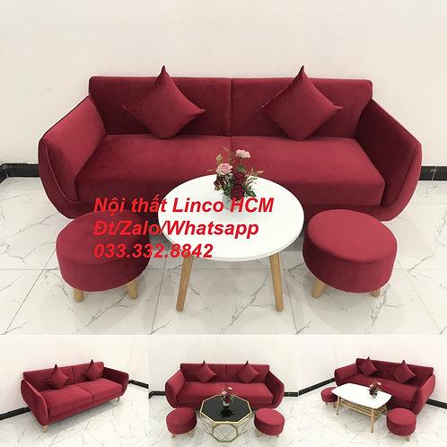 Bộ ghế sofa băng phòng khách hiện đại màu đỏ đô đậm vải nhung Nội thất Linco HCM