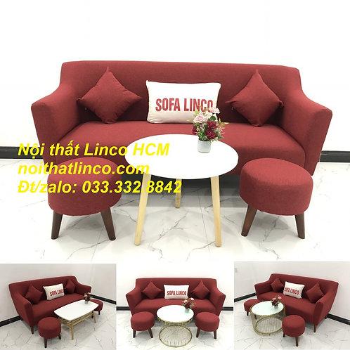 Bộ bàn ghế Sofa băng SFBg02 đỏ giá rẻ phòng khách Nội thất Linco Tphcm Sài Gòn