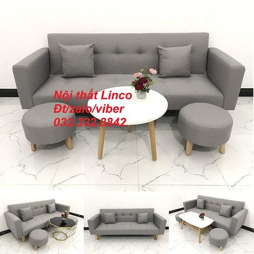Bộ sofa bed sofa giường băng dài màu xám trắng ghi giá rẻ đẹp Nội thất Linco HCM