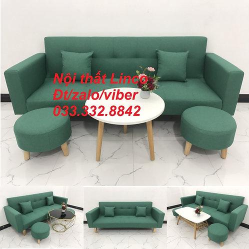 Bộ ghế sofa giường sopha bed (băng) dài 2m xanh ngọc lá cây ở Nội thất Linco HCM