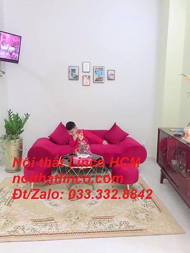 Bộ ghế sofa salon văng băng thuyền đỏ đô đậm vải nhung rẻ đẹp Nội thất Linco HCM