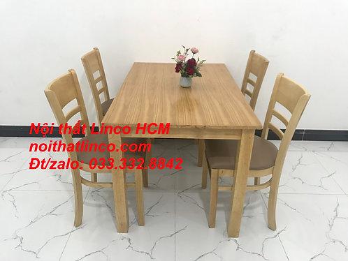 Bộ bàn ghế ăn Cabin 4 ghế gỗ cao su tự nhiên giá rẻ Nội thất Linco HCM Sài Gòn