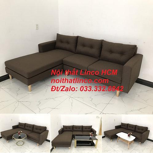 Bộ ghế sofa góc chữ L, sofa phòng khách hiện đại nâu đậm | Nội thất Linco Tphcm