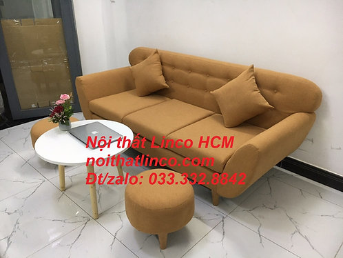 Ghế sofa màu nâu | Sofa băng giá rẻ dài 1m9 vải bố đẹp rẻ | Nội thất Linco Tphcm