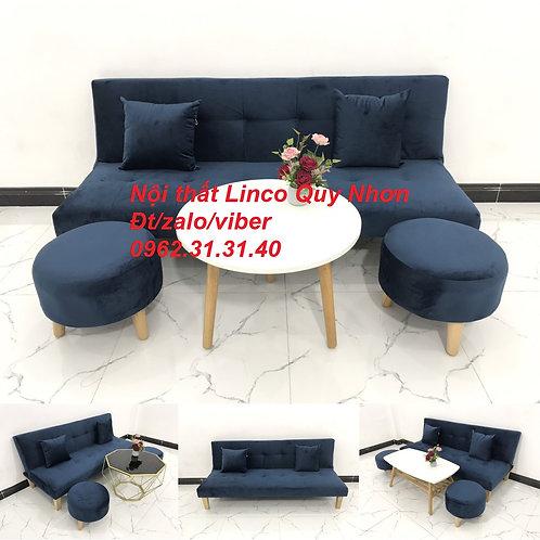 Bộ bàn ghế sofa giường sofa bed SFG07 xanh đậm vải nhung Nội thất Linco Quy Nhơn