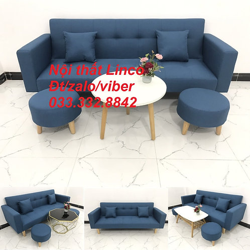 Bộ ghế sofa giường bed (băng) màu xanh dương da trời rẻ đẹp ở Nội thất Linco HCM