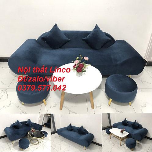 Bộ ghế sopha sofa văng băng thuyền xanh dương đậm đen rẻ Nội thất Linco Quy Nhơn