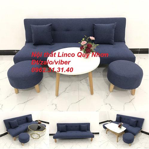Bộ bàn ghế sofa giường sofa bed SFG10 xanh dương đậm đen Nội thất Linco Quy Nhơn